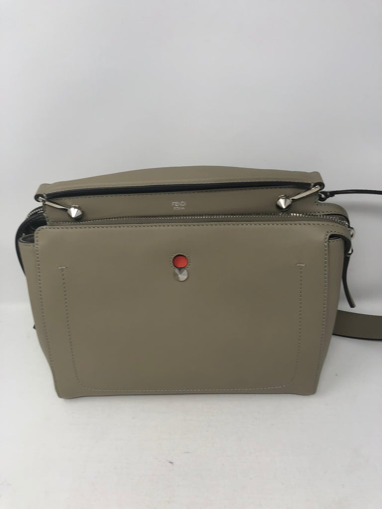 511dd43cb3bf Fendi Dotcom Leather satchel in Dove Gray with red interior. Stunning bag  in new condition