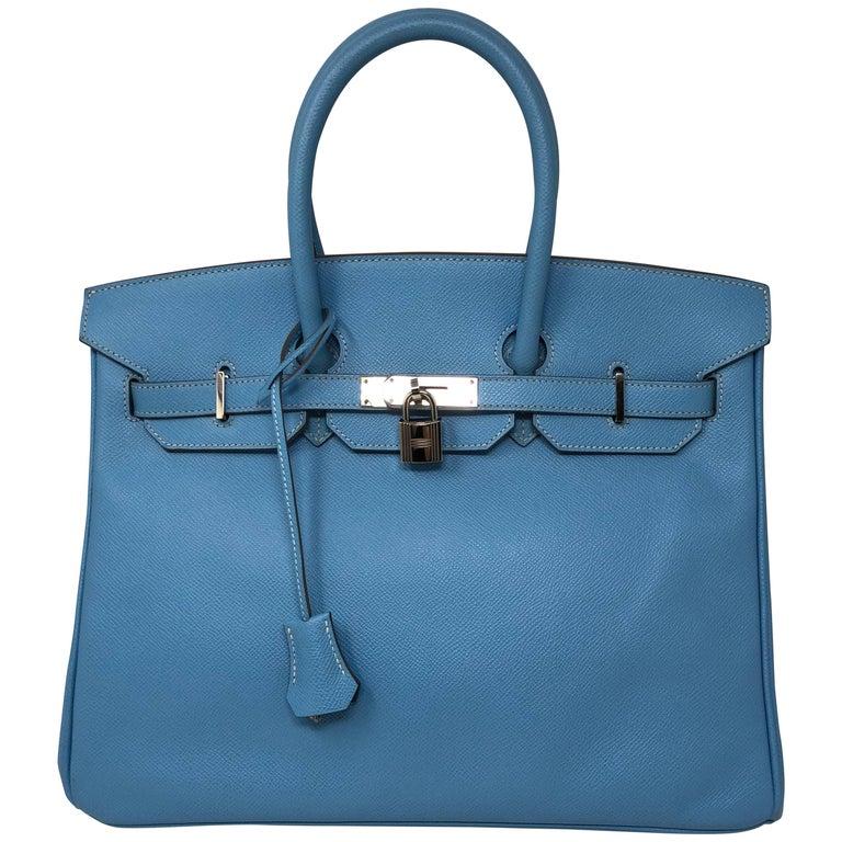 b5ad67482709 Hermes Candy Edition Blue Birkin 35 Mykonos Interior For Sale at 1stdibs