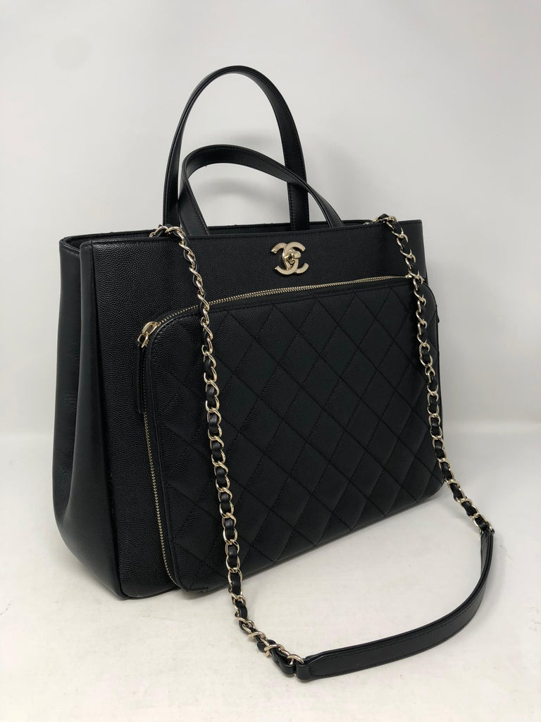 Chanel Affinity Black Bag Nice Pebbled Leather With No Wear Like New Condition