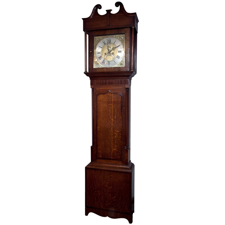 Oak Tall Case Clock with Brass and Nickel Dial