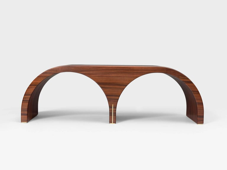 French Contemporary Archs Bench in Wood and Brass by Hervé Langlais For Sale