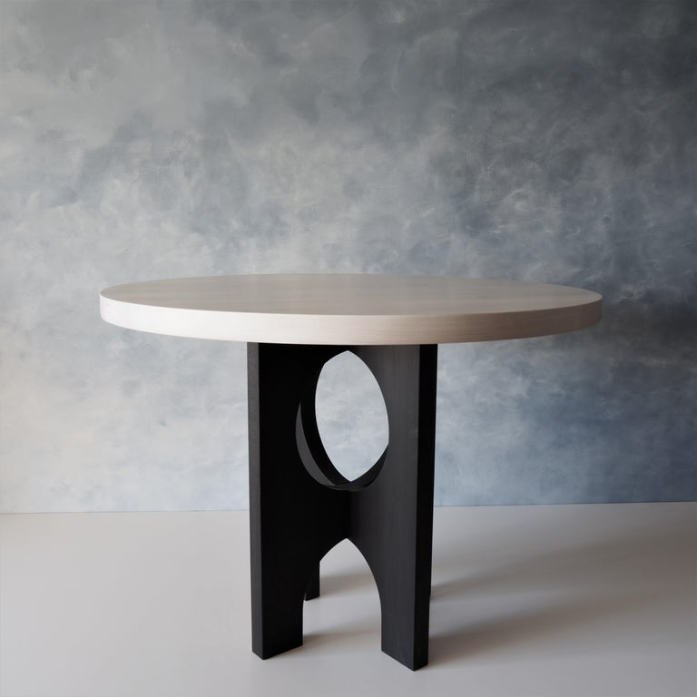 Archway Dining Table, India Ink Black, Beech White by MSJ Furniture Studio In New Condition For Sale In Vancouver, BC