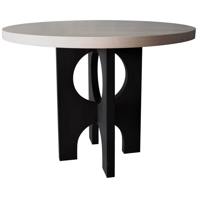 Archway Dining Table, India Ink Black, Beech White by MSJ Furniture Studio For Sale
