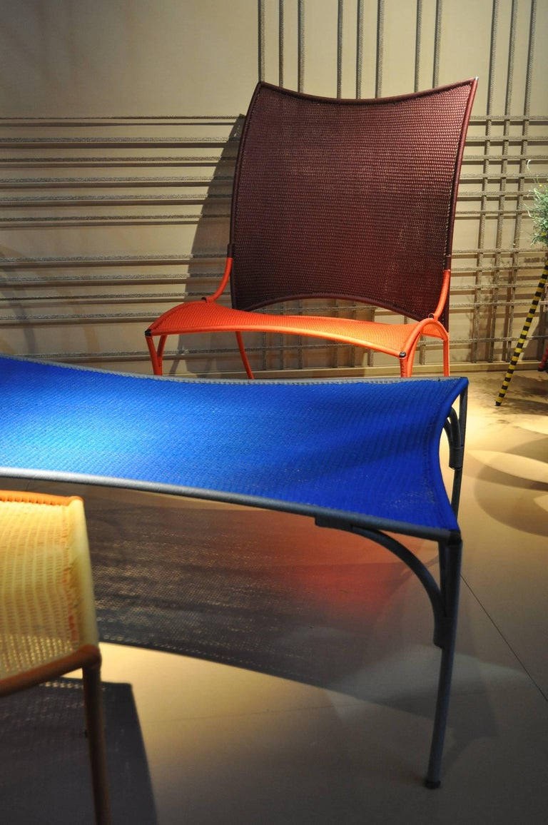 Hand-Woven Arco Chair B. by Martino Gamper for Moroso for Indoor/Outdoor in Multi-Color For Sale