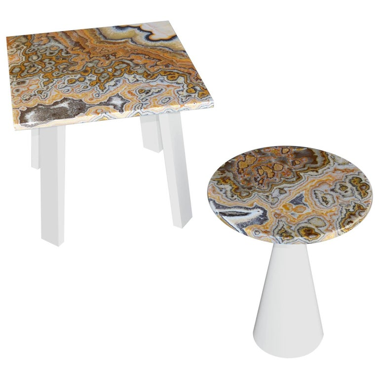 Modern Onyx Coffee Side Table white lacquered wood base onyx top
