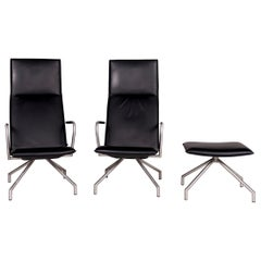 Arco Lay Down Leather Armchair Set Black 2x Armchair 1x Stool