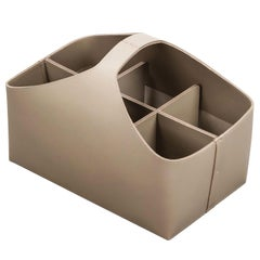 Arco Medium Caddy Basket with 6 Dividers in Sand Leather