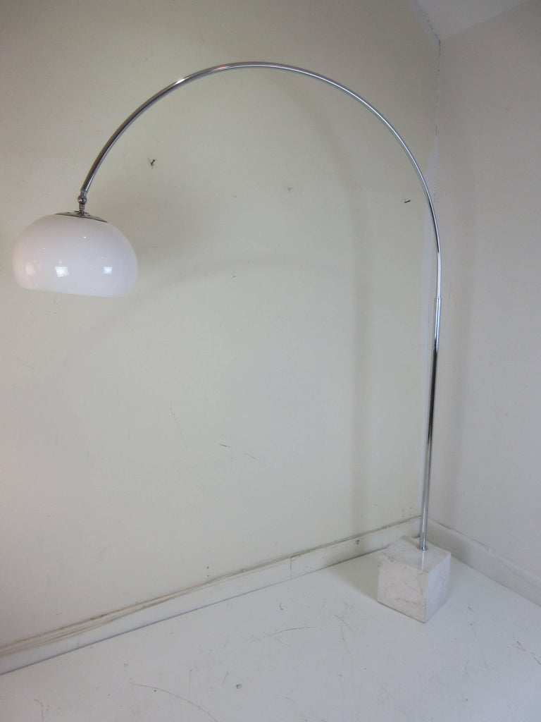 Arco Style Floor Lamp with Marble Base For Sale at 1stdibs