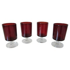 Arcoroc Ruby Cordial Glasses France by J.G. Durand