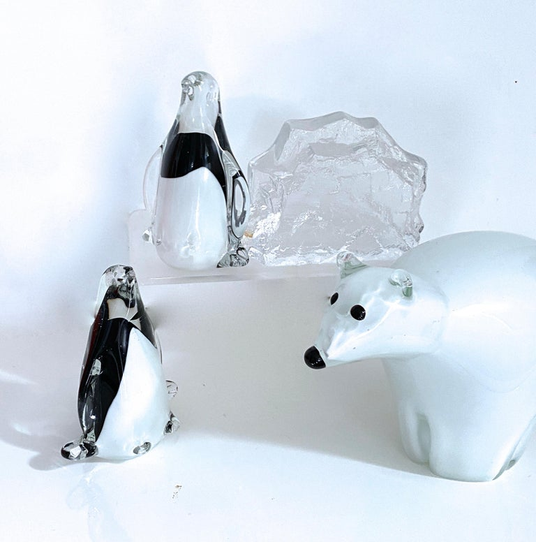 Arctic Animal Sculpture Italian Murano and Scandinavian Modernist Glass 4 Pieces In Good Condition For Sale In Halstead, GB