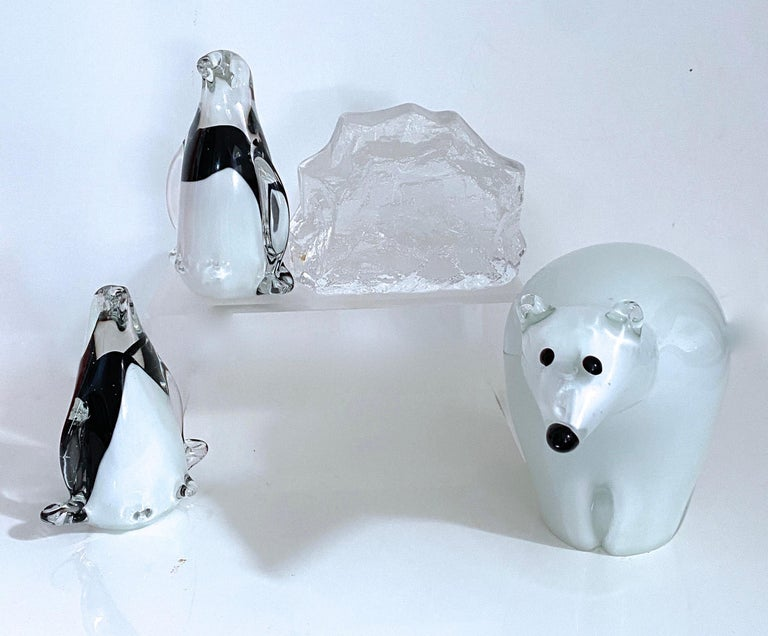 Late 20th Century Arctic Animal Sculpture Italian Murano and Scandinavian Modernist Glass 4 Pieces For Sale