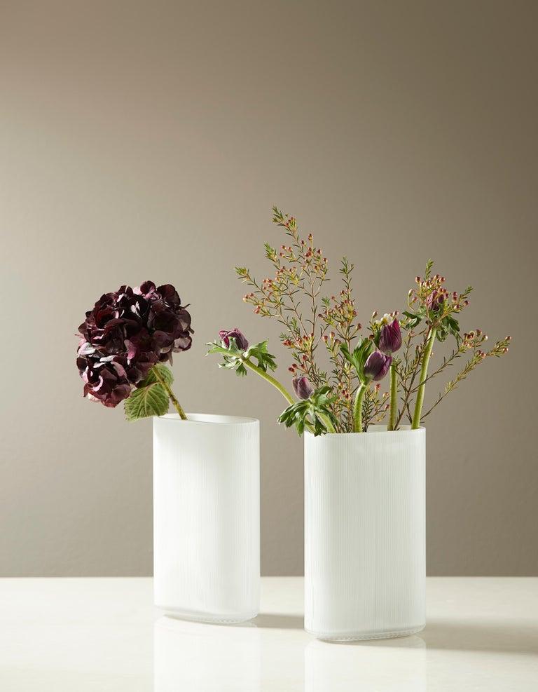 Scandinavian Modern Arctic Opal Blown Glass Vase by Gunnar Cyrén for Warm Nordic For Sale