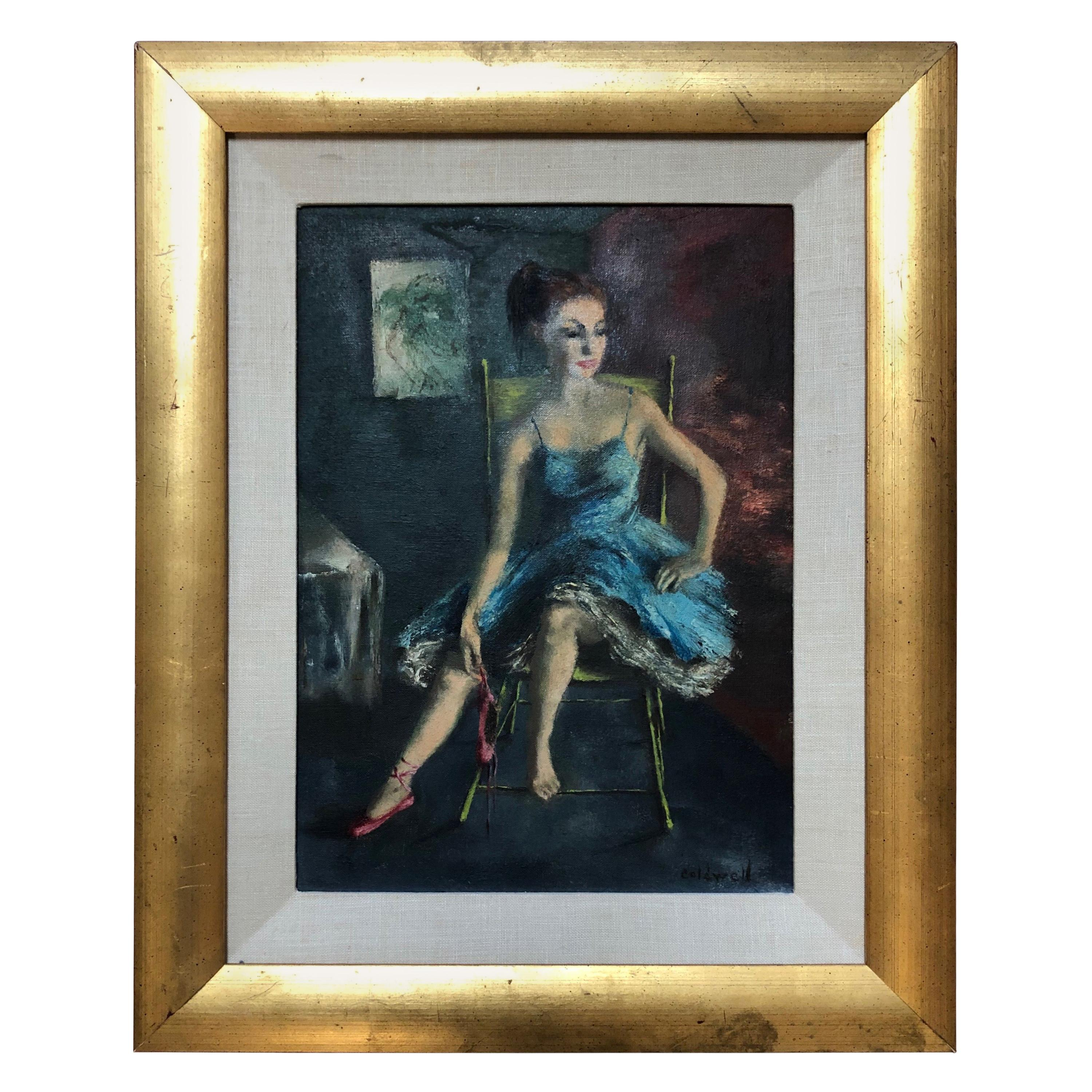 """Ardath Coldwell """"Red Shoes"""" Original Oil Painting, circa 1960s"""
