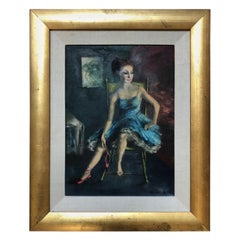 "Ardath Coldwell ""Red Shoes"" Original Oil Painting, circa 1960s"