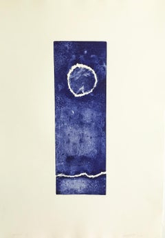 """Continuum 2"", ultramarine blue abstract seascape inspired engraving print."