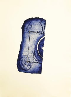 """""""Square Route"""", ultramarine blue abstract seascape inspired engraving print."""