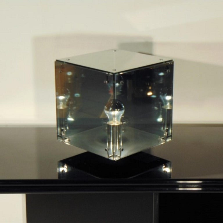 Smoked gray mirrored glass table lamp. The medium version (height 37 cm - 14
