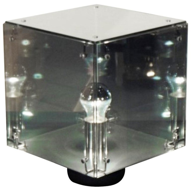 A.R.D.I.T.I. Table Lamp Smoked Gray Mirrored Glass Prismar 2, Sormani 1972  For Sale