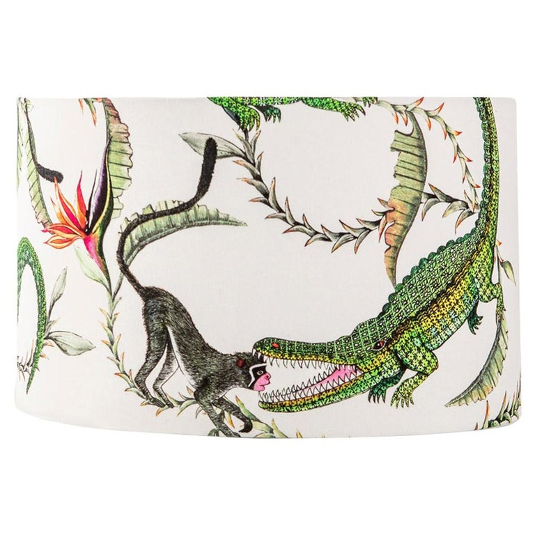 Ardmore River Chase Fabric Lampshade, Vicose Linen, Large For Sale