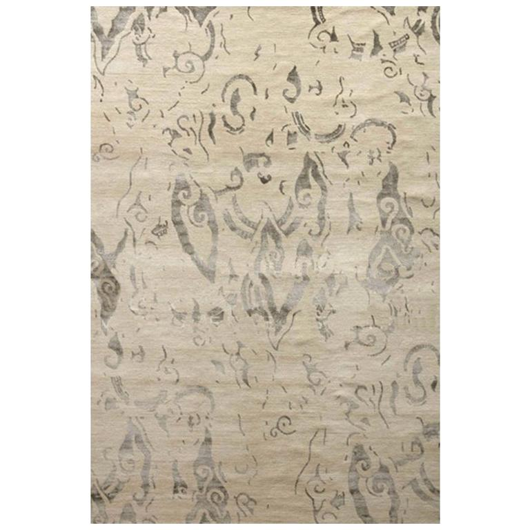 """Area Rug Abstract Contemporary Ivory, Handmade of Silk, Wool """"Poet"""""""