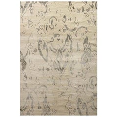 "Area Rug Abstract Contemporary Ivory, Handmade of Silk, Wool ""Poet"""
