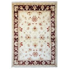 Area Rug, Handmade Carpet Cream Floral Rug