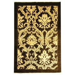 Area Rug, Turkish Oriental Carpet Damask Gold and Black Rug