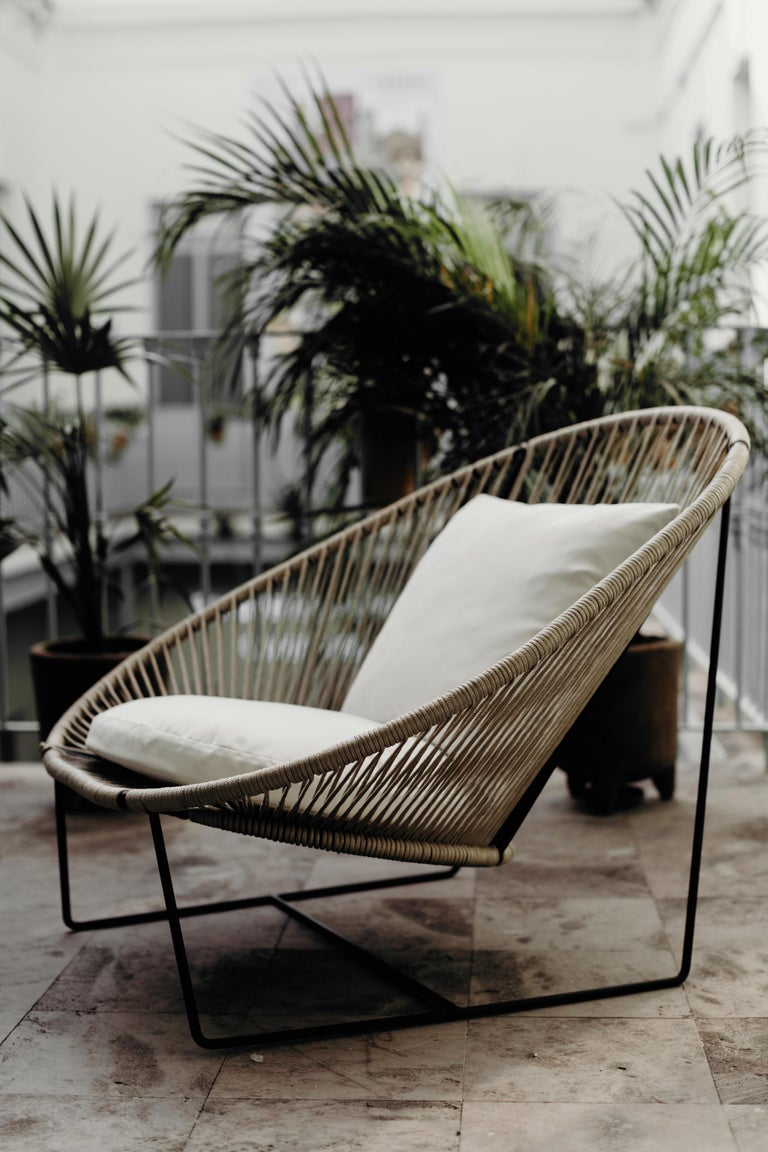 Powder-Coated Arena Steel with Rope Weave Armchair For Sale