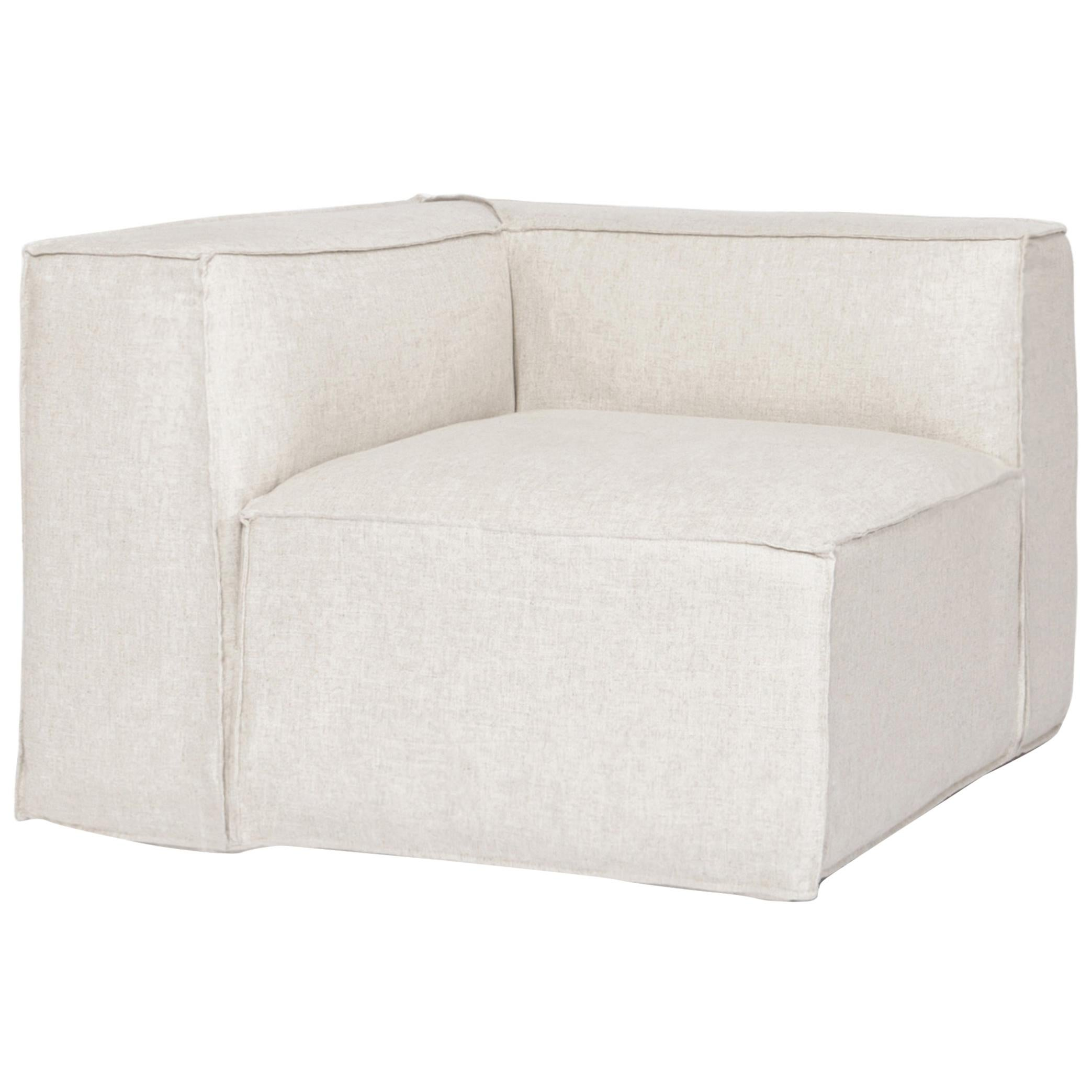 Arena Corner Module for Sofa in Linen Color Cabric Upholstery