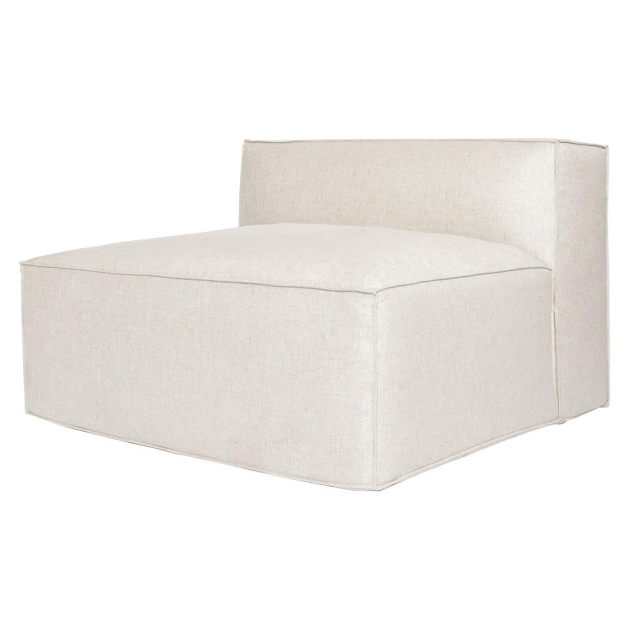 Arena module with backrest for Sofa in linen color fabric upholstery