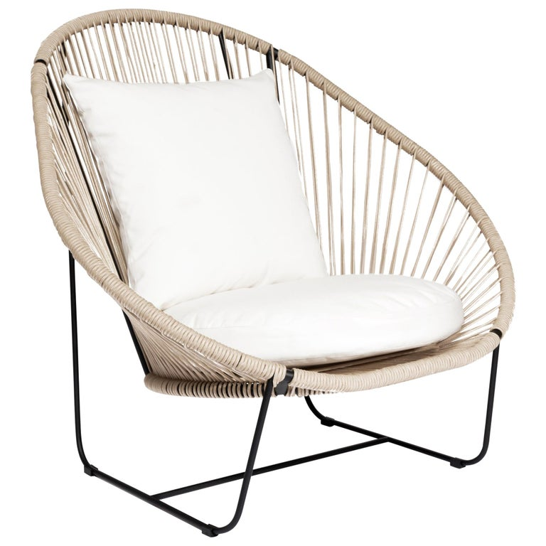 Arena Steel with Rope Weave Armchair For Sale