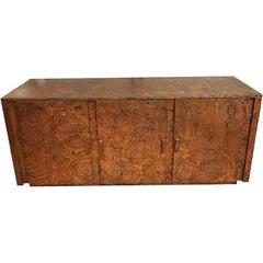 """Arenson Studios """"Art Nouveau"""" Pattern Copper Clad Cabinet"""
