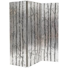 Arenson Studios Bamboo Pattern Three-Panel Screen