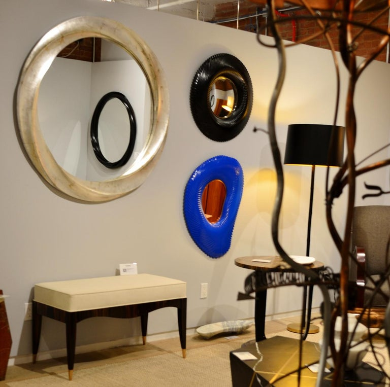 Ares series Mirror in Lapis Blue Lacquer In New Condition For Sale In Brooklyn, NY