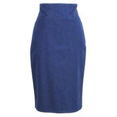 Arfango Blue Denim Sheath Jeans Skirt