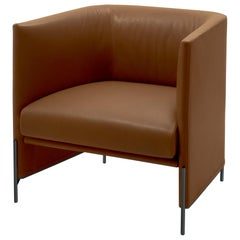 Arflex Algon Low Back Armchair in Brown Perla Leather by Luca Nichetto