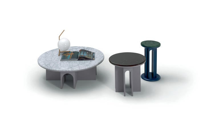 Arflex Arcolor 30 Small Table in White Carrara Marble Top by Jaime Hayon. Small tables designed around the classical geometry of the arch, employing from the beginning the disciplined use of the arch to create something more organic.  Additional
