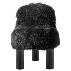 Arflex Botolo High Back Armchair in Black Fur and Black Metal Legs by Cini Boeri