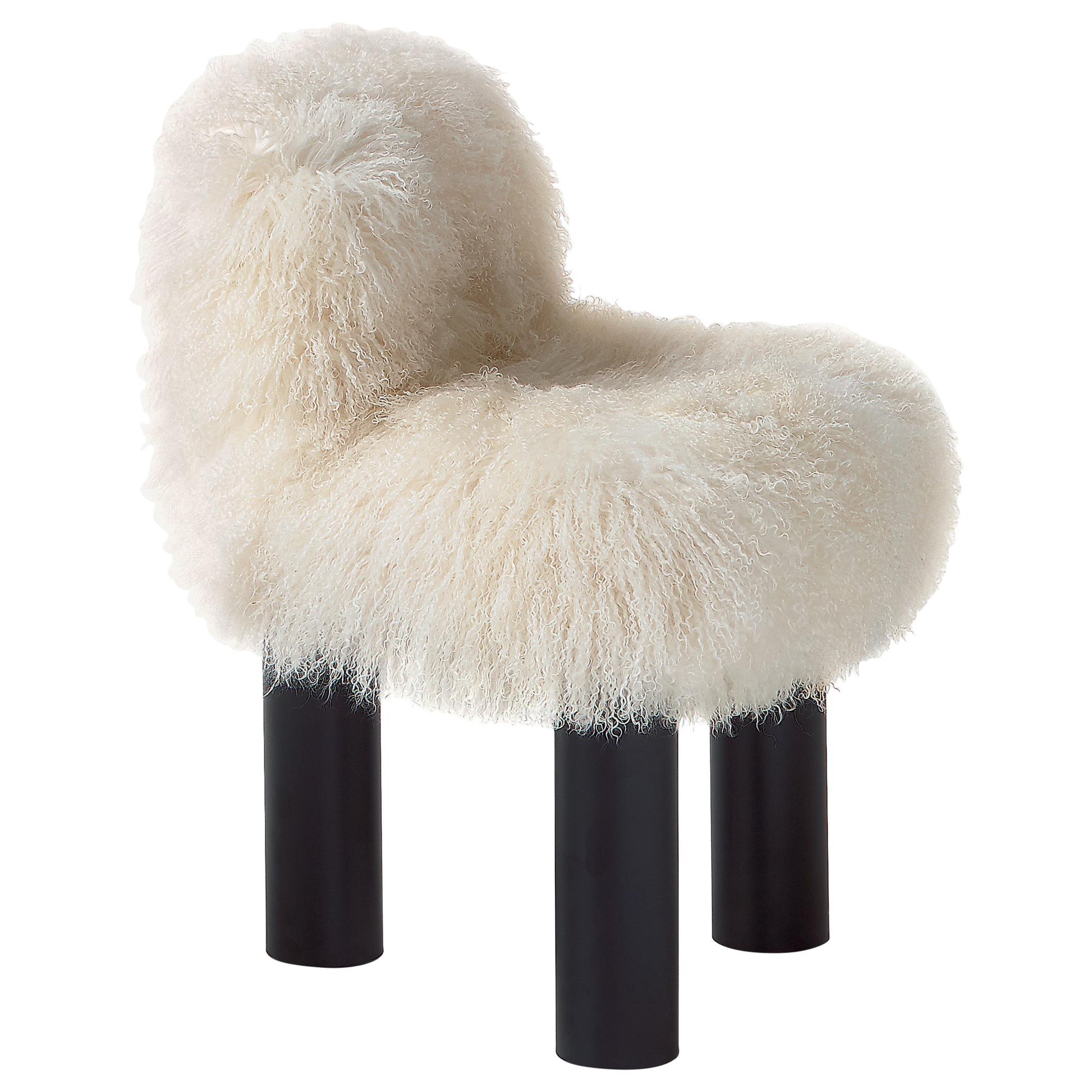 Arflex Botolo High Back Armchair in Natural Fur & Black Metal Legs by Cini Boeri