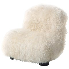 Arflex Botolo Low Back Armchair in Natural Fur & Black Metal Legs by Cini Boeri