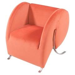 Arflex by Yaakov Kaufman Virgola Peach Orange Velvet Armchair, 1990s