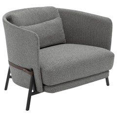 Arflex Cradle Standard Armchair in Grey Boucle Fabric & Black Legs by Neri & Hu