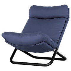 Arflex Cross High Backrest Armchair in Blue Steelcut Fabric by Marcello Cuneo