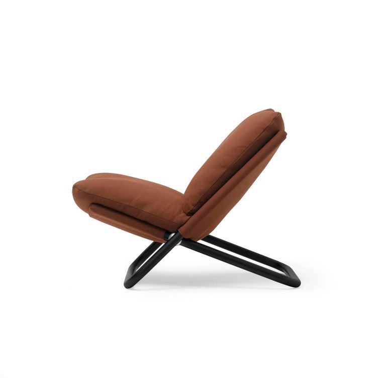 Modern Arflex Cross Low Backrest Armchair in Brown Steelcut Fabric by Marcello Cuneo For Sale