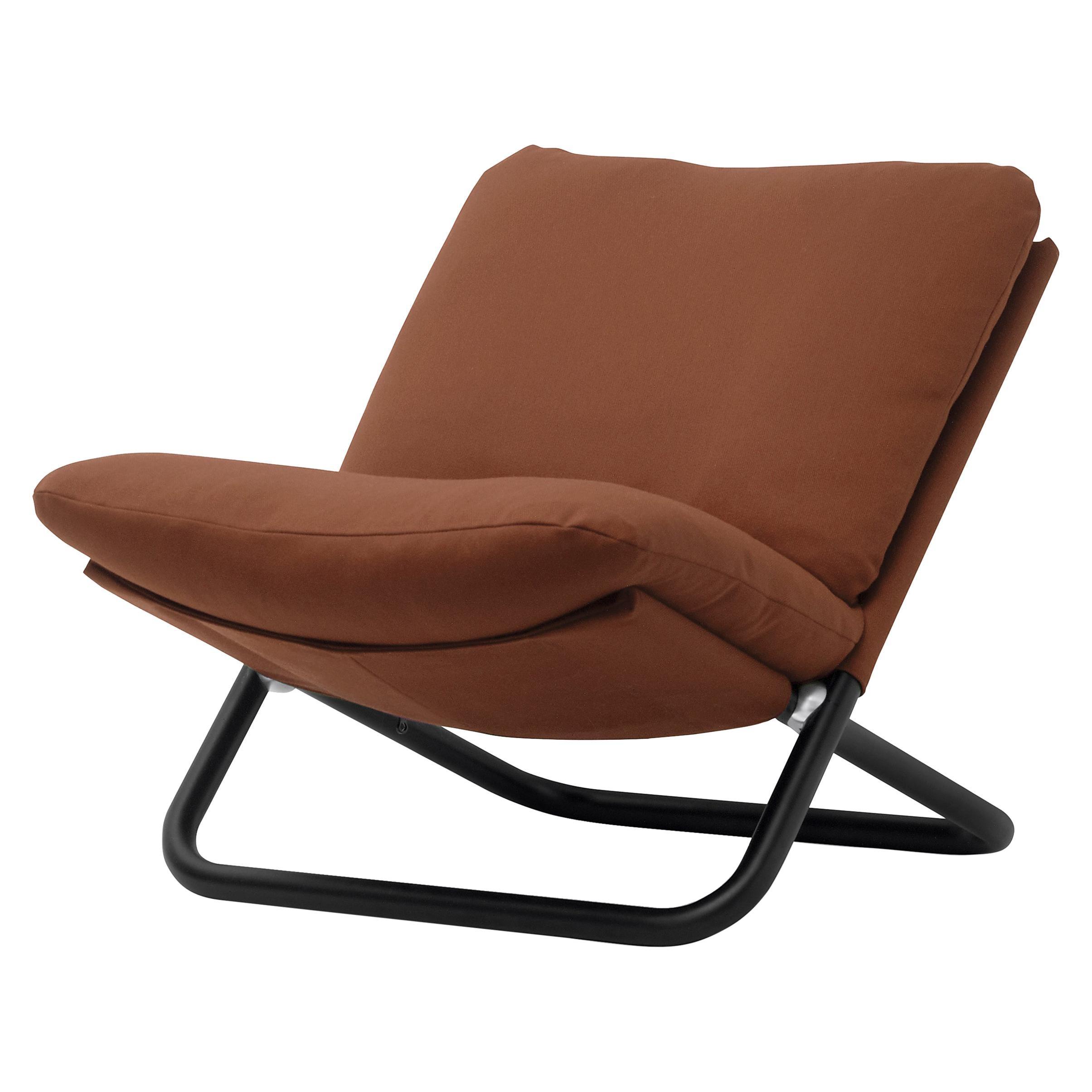 Arflex Cross Low Backrest Armchair in Brown Steelcut Fabric by Marcello Cuneo