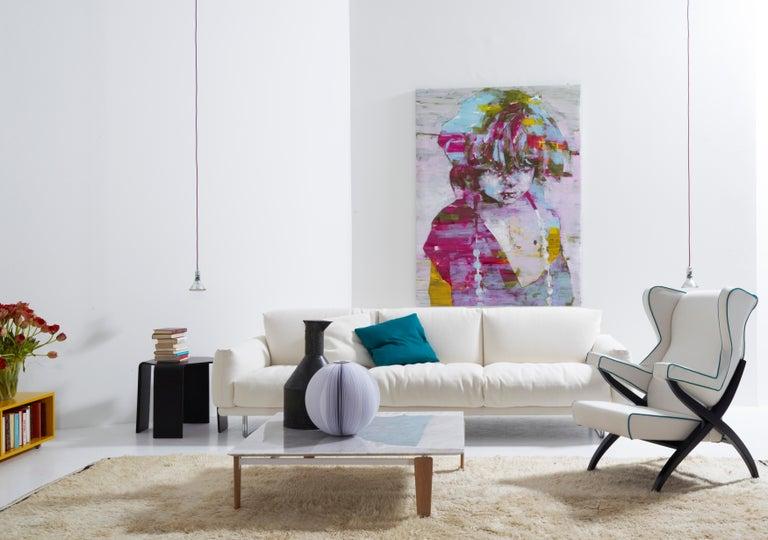 Arflex Fiorenza Armchair in Steelcut Blue Fabric & Black Frame by Franco Albini For Sale 6