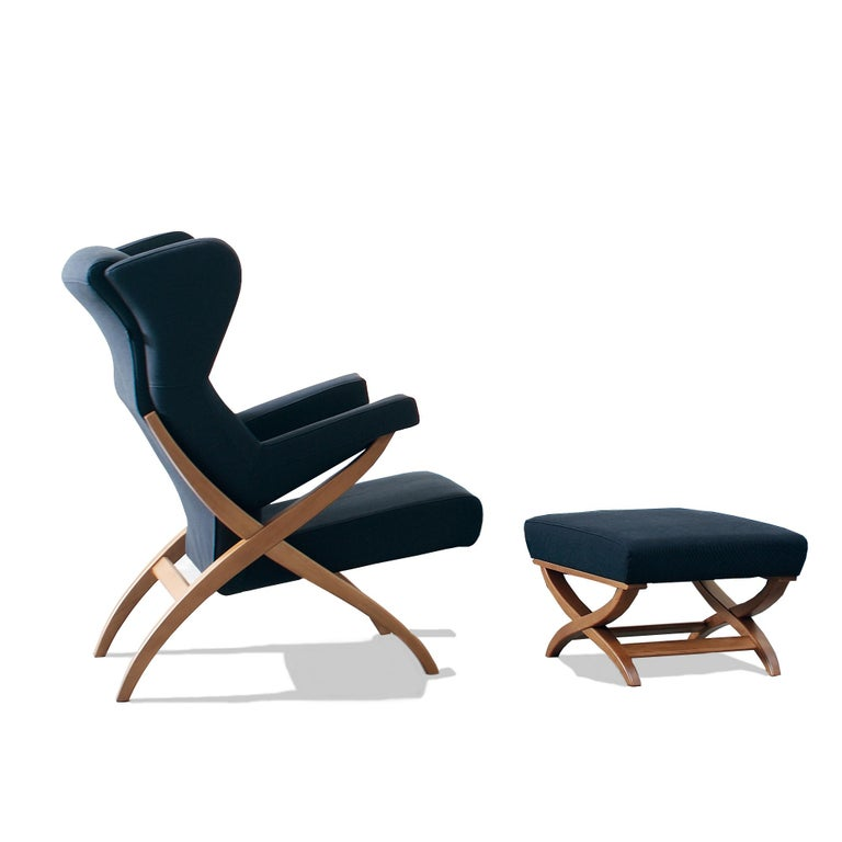 Arflex Fiorenza Armchair in Steelcut Blue Fabric & Black Frame by Franco Albini For Sale 7