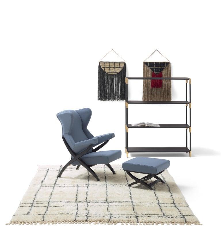 Modern Arflex Fiorenza Armchair in Steelcut Blue Fabric & Black Frame by Franco Albini For Sale