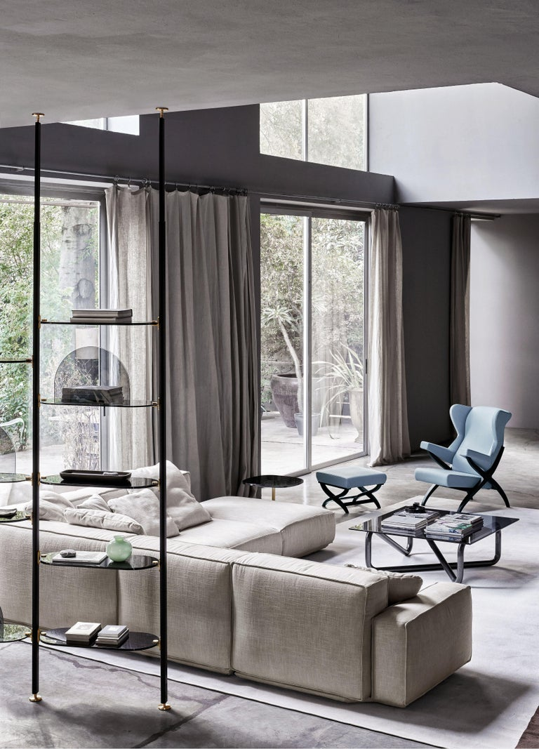 Arflex Fiorenza Armchair in Steelcut Blue Fabric & Black Frame by Franco Albini In New Condition For Sale In New York, NY