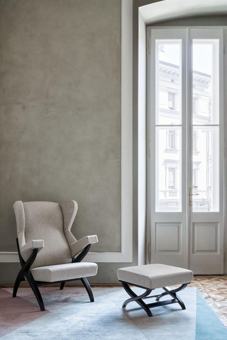 Arflex Fiorenza Armchair in Steelcut Blue Fabric & Black Frame by Franco Albini For Sale 1
